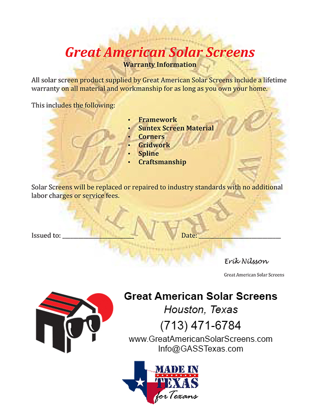 Great American Solar Screens Warranty
